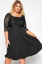 Black Lace Sequin Embellished Scuba Dress