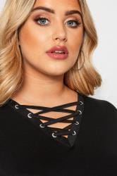 Black Lace Up V-Neck Top