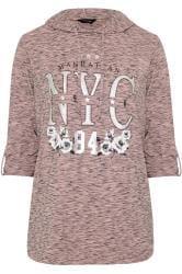 Pink Marl Foil 'NYC' Slogan Hoodie