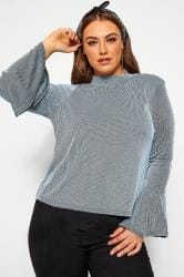 LIMITED COLLECTION Baby Blue Ribbed Flare Long Sleeve Top