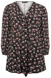 LIMITED COLLECTION Black Blossom Floral Knot Front Dress