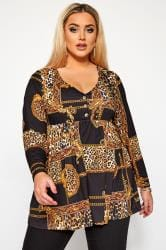 LIMITED COLLECTION Black Chain & Animal Print Smock Top