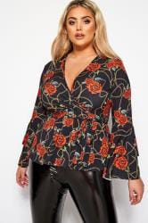LIMITED COLLECTION Black Chain Rose Print Wrap Top