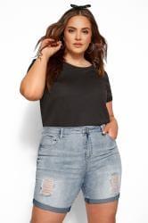 LIMITED COLLECTION Jeans Shorts - Blau zerschlissen