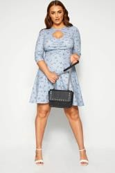 LIMITED COLLECTION Blue Ditsy Ruched Tea Dress