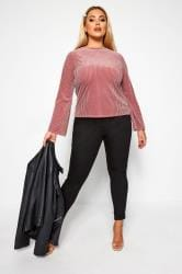 LIMITED COLLECTION Blush Pink Velour Ribbed Top