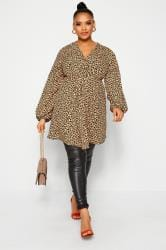LIMITED COLLECTION Brown Leopard Print Knot Front Dress