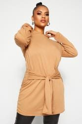 LIMITED COLLECTION Camel Tie Waist Hoodie Dress