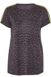 LIMITED COLLECTION Grey Leopard Print Neon Tape Top