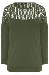 LIMITED COLLECTION Khaki Fishnet Panel Sweatshirt