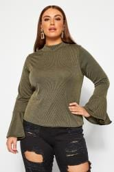LIMITED COLLECTION Khaki Ribbed Flare Long Sleeve Top