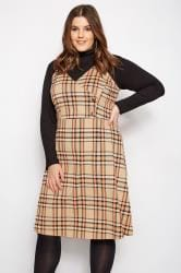 LIMITED COLLECTION Orange & Beige Wrap Front Check Pinafore Dress