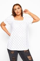 LIMITED COLLECTION White Broderie Anglaise Square Neck Top