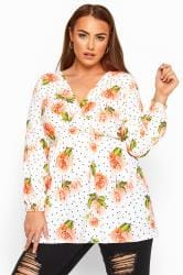 LIMITED COLLECTION White Floral Polka Dot Wrap Top