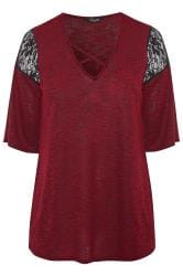 LIMITED COLLECTION Wine Red Lace Insert Lattice Top
