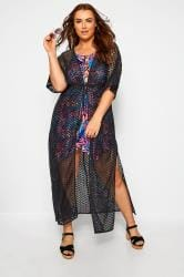 Black Lace Longline Maxi Cover Up