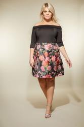 LOVEDROBE Black Bardot Floral Jacquard Dress