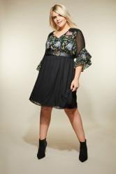 LOVEDROBE Black Floral Embroidered Dress