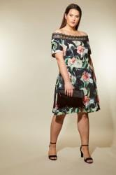 LOVEDROBE Black Floral Lace Bardot Dress
