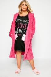 Black 'Love And Wifi' Slogan Print Nightdress