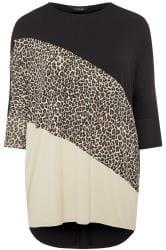 Black Animal Colour Block Extreme Dipped Hem Top
