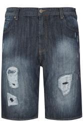 LOYALTY & FAITH Blue Mid Wash Ripped Denim Shorts