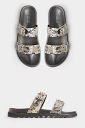 LIMITED COLLECTION Stone Snake Print Buckle Sliders In Extra Wide Fit