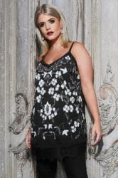 LUXE Black Floral Embellished Top With Lace Hem