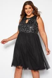 LUXE Black Sequin Embellished Dress