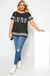 Black Animal Print Varsity Stripe Top