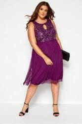LUXE Purple Sequin Embellished Dress
