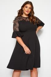 Black Lace Skater Dress With Flute Sleeves