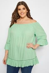Light Green Gypsy Bardot Top