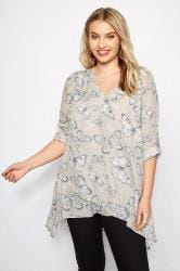 Light Grey Butterfly Layered Blouse With Notch Neck