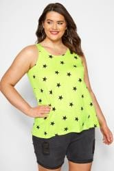 Lime Green Star Print Vest Top