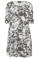 Grey Tie Dye Drape Pocket Dress