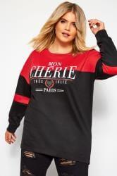 Black & Red Slogan Colour Block Sweatshirt