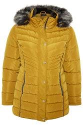Mustard Yellow Panelled Puffer Coat
