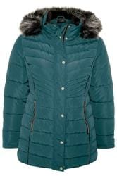 Teal Green Panelled Puffer Coat