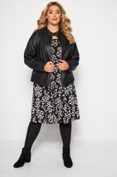 Margeriten-Kleid mit Taschen - Schwarz