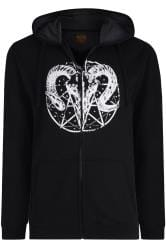 MCCARTHY Black Ram Printed Zip Through Hoodie
