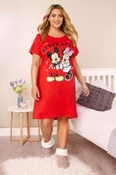 Rood katoenen Disney nachthemd met Mickey & Minnie