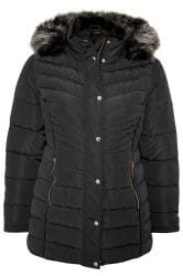 Black Panelled Puffer Coat