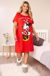 Rood katoenen nachthemd met Minnie Mouse en 'I woke up like this' slogan