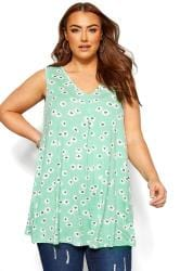 Mint Green Floral Swing Vest Top