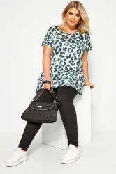Mint Green Foil Animal Print Top