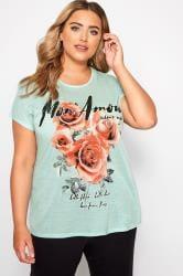 Mint Green Rose Slogan T-Shirt