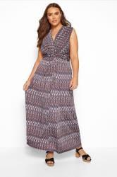 Multi Geometric Knot Front Maxi Dress