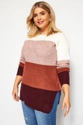 Multicoloured Block Stripe Knitted Jumper