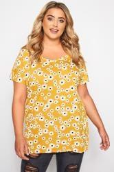Mustard Daisy Dipped Hem T-Shirt